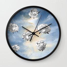 Digital Sheep in a Watercolor Sky Wall Clock