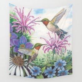 Hummingbird and Bergamot Wall Tapestry