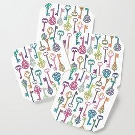 Rainbow Keys on White Coaster