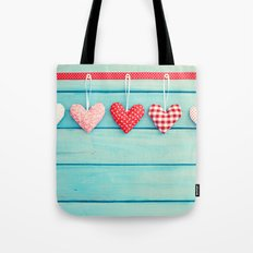 Hanging Hearts on Wood Tote Bag