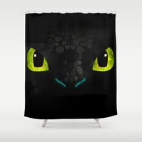 hiccup Shower Curtains featuring Toothless by KitsuneDesigns