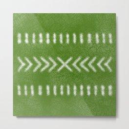 Minimalist Tribal Pattern in Lime Green Metal Print