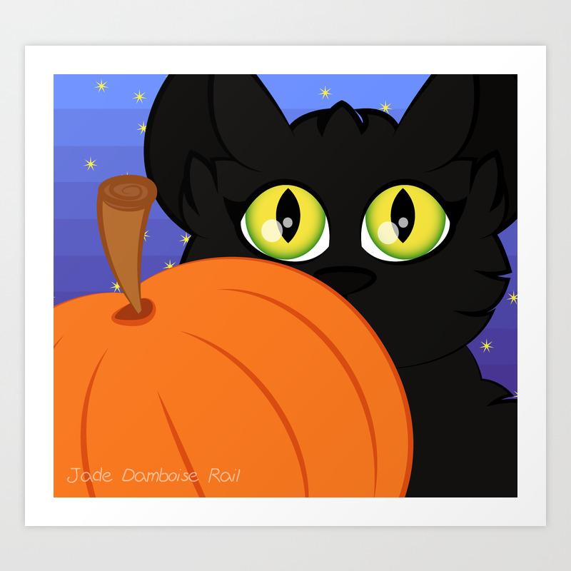 Cute Halloween Pumpkin Cat Art Print
