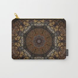 Rich Brown and Gold Textured Mandala Art Carry-All Pouch