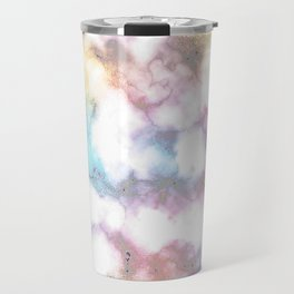 Blurred Rainbow Clouds: Faux Marble Pattern Travel Mug