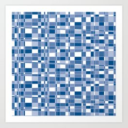 Mod Gingham - Blue Art Print