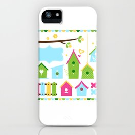 Beautiful colorful spring bird houses iPhone Case