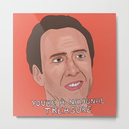 Nicolas Cage meme, National Treasure, Con air, Face Off, Nic Cage face art Metal Print