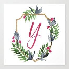 Jungle Gold Monogram Crest Y Canvas Print