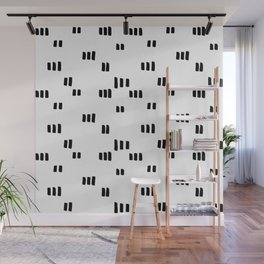 Line Dot Black Paint on Paper Wall Mural