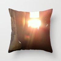bathroom Throw Pillows featuring Bathroom Lights by Efua Boakye