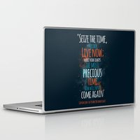 "picard Laptop & iPad Skins featuring ""Live now; make now always the most precious time. Now will never come again"" Captain Picard by Elizabeth Cakovan"