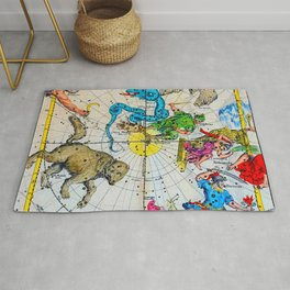 Vintage ancient Greek constellations map Rug
