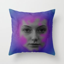 Pink and blue portrait Throw Pillow