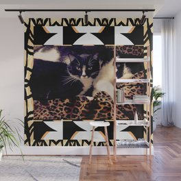 Love & Peace Cats on Black,White,Gold,Leopard Wall Mural