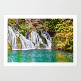 Waterfall And Lake In Autumn Forest Art Print