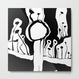 Graphic Mushroom Forest Metal Print