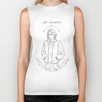 sam winchester Biker Tanks featuring sam winchester is better than you by Cesca Summers