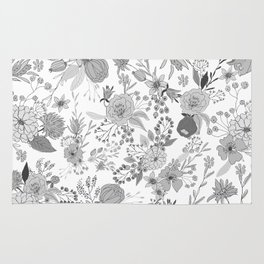 Abstract black white rustic modern floral illustration Rug