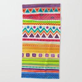 colorful zentangle ethnic dance Beach Towel