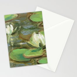 White water-lily oil painting Stationery Cards