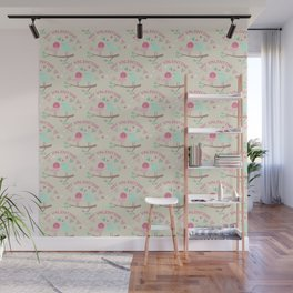 Pink teal gren love birds my valentine romantic floral Wall Mural
