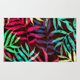 Watercolor Tropical Palm Leaves IV Rug