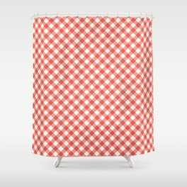 Gingham - Salmon Color Shower Curtain