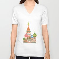 moscow V-neck T-shirts featuring Moscow by Chay Lazaro