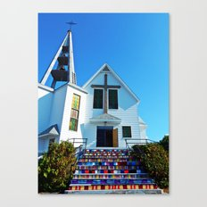 Easter Colored Church Steps Canvas Print