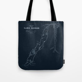 1853 Map of Lake George (navy) Tote Bag