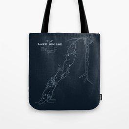 1853 Map of Lake George (navy) Tote Bag
