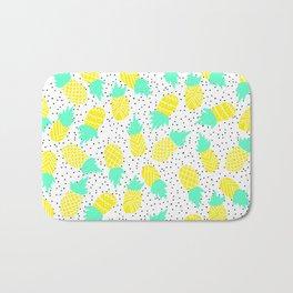 Modern tropical mint yellow pineapples black polka dots pattern illustration Bath Mat