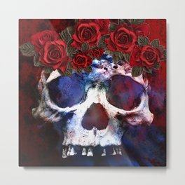 Red, White, and Blue Skull Metal Print
