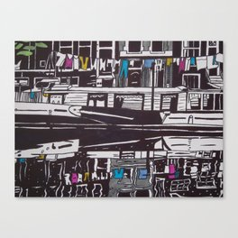 Washing line on boat in Amsterdam Canvas Print