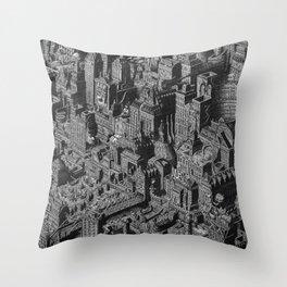 The Fantasy City. Urban Landscape Illustration. Throw Pillow