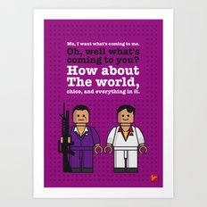 My scarface lego dialogue poster Art Print