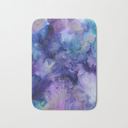 Abstract Watercolor Coastal, Indigo, Blue, Purple Bath Mat
