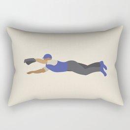 Baseball Player in Blue Fielding a Diving Catch, Flat Graphic Rectangular Pillow