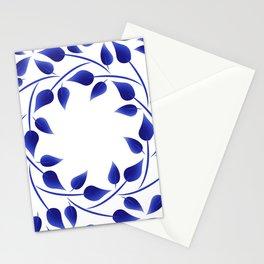 Blue leaf weave Stationery Cards