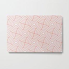 Pantone Living Coral Circle Swirl Pattern on White Metal Print