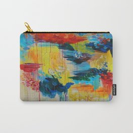 VANCOUVER RAIN - Stunning Rainbow Colorful Bold bright Rain Clouds Stormy Day Wow Abstract Painting Carry-All Pouch