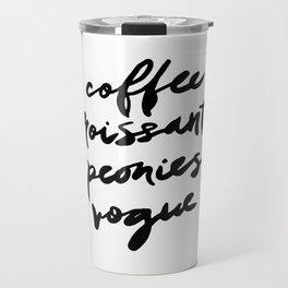 coffee croissants peonies Travel Mug