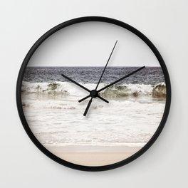Neutral Ocean Landscape Photography, Grey Seascape Art, Gray Sea Beach Photo, Coastal Print Wall Clock