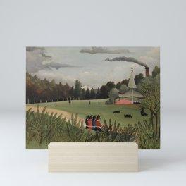 Landscape and Four Young Girls (Paysage et quatre jeunes filles) (ca. 1895) by Henri Rousseau. Mini Art Print