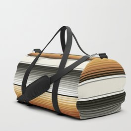 Navajo White, Gray, Black and Amber Brown Southwest Serape Blanket Stripes Duffle Bag