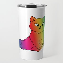 Colorful Cute Funny Rainbow Kitten Rave LGBTQ Community Gay Lesbian Transgender Cat T-shirt Design Travel Mug