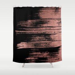 Charming Modern Black Brushstrokes Elegant Faux Rose Gold Shower Curtain