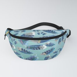 """Blue feathers flying in the air"" Fanny Pack"