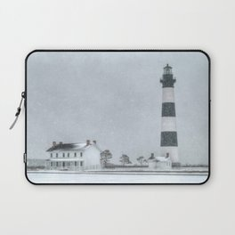 Outer Banks, Bodie Island Lighthouse in the Snow OBX NC Laptop Sleeve